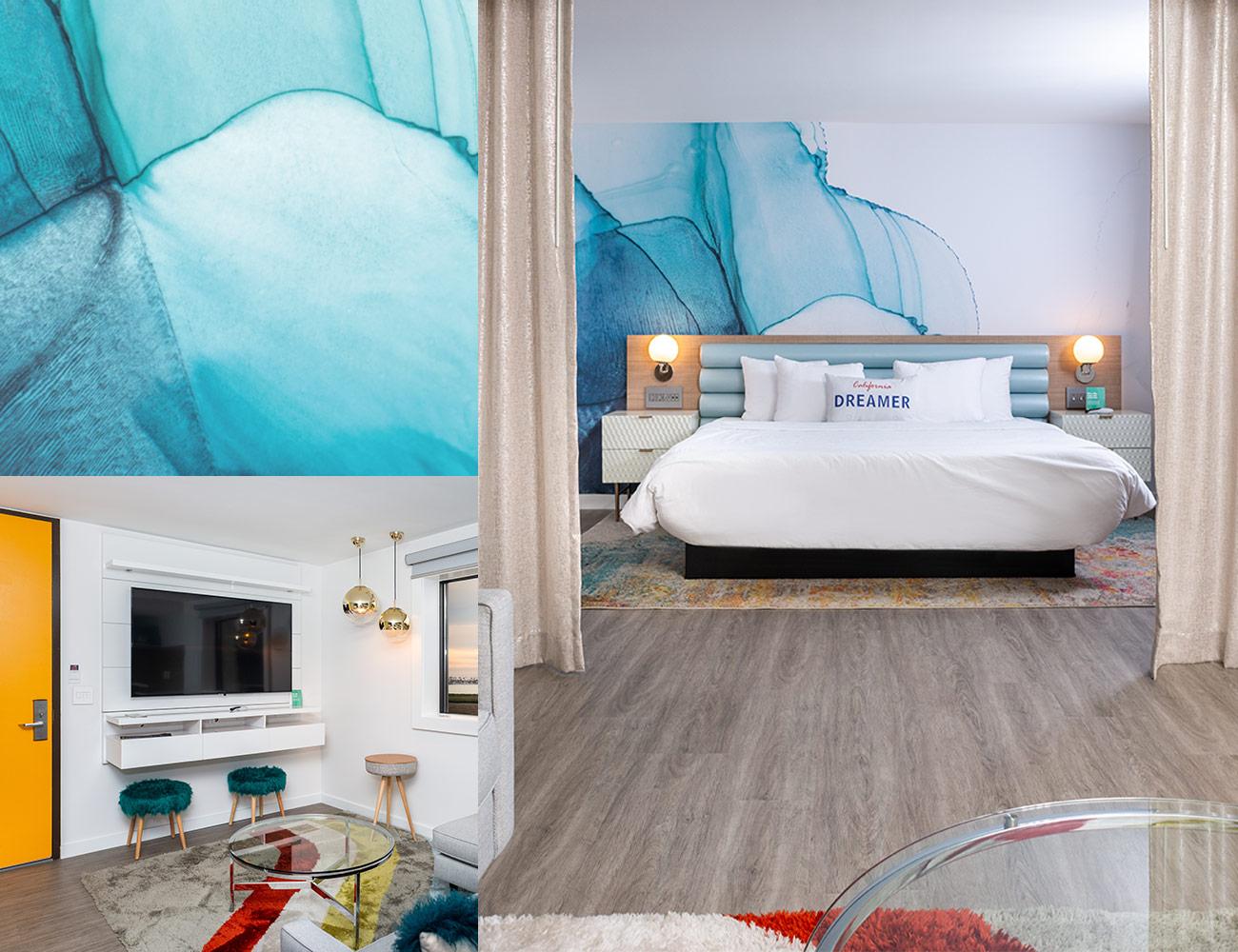 Rambler suites interior views of bed and wallpaper backsplash