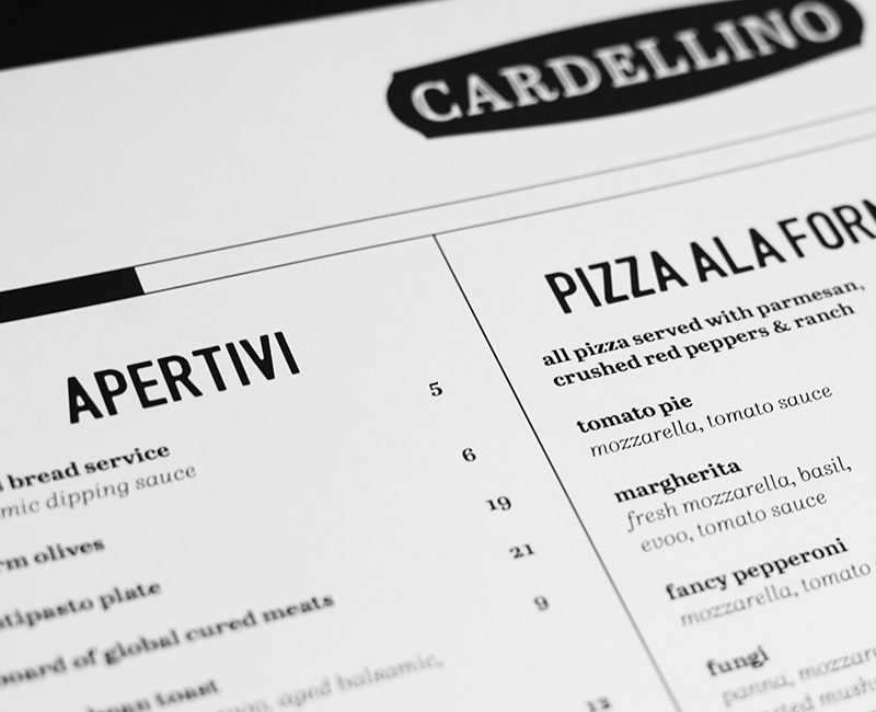 Black and white Cardellino restaurant menu featuring Apertivi and pizzas such as tomato pie, margherita, fancy pepperoni, and fungi