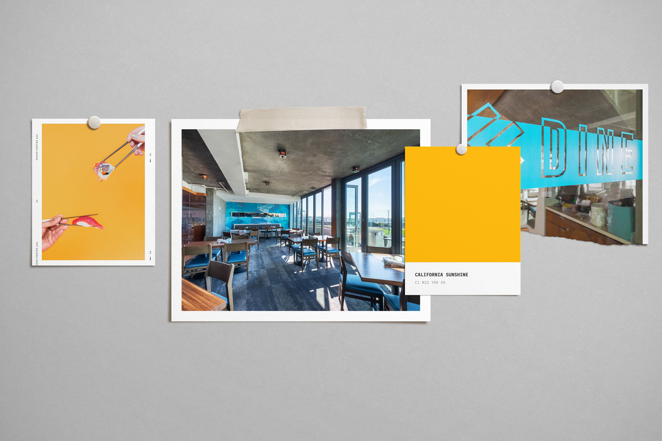 JRDN's interior decor with pops of yellow and blue on its seaside locale