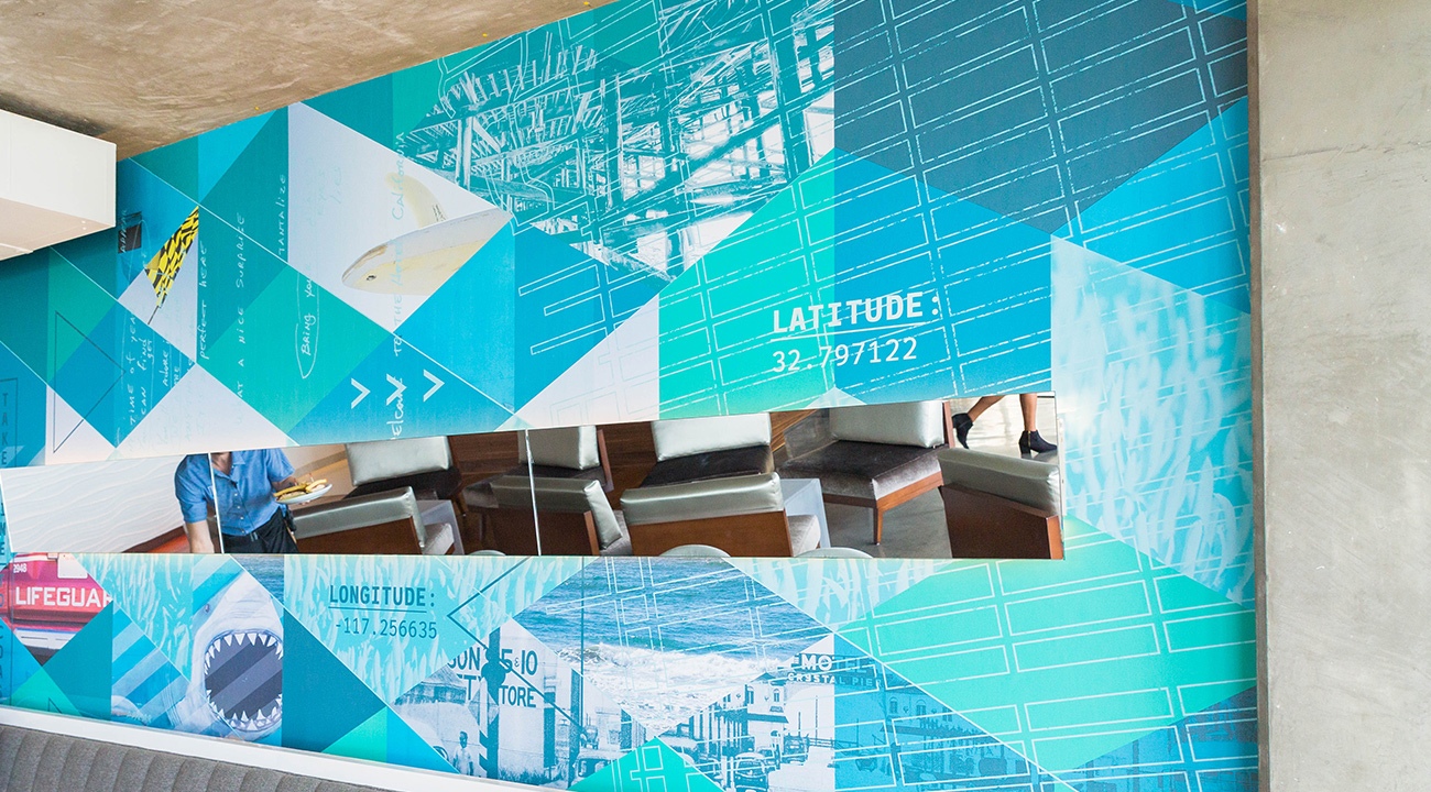JRDN wall graphics with latitude and longitude of its locale