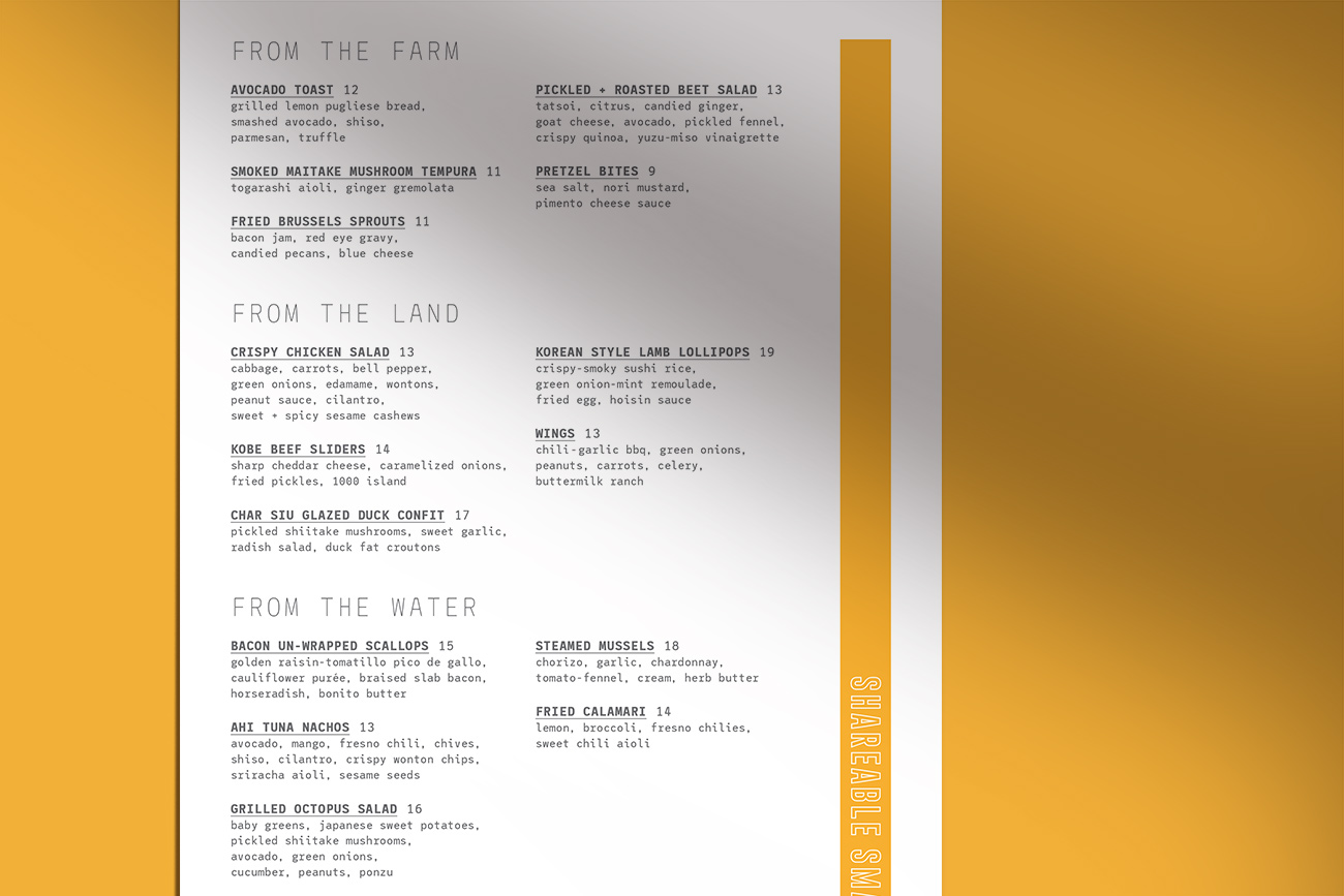 JRDN restaurant menu sections - From the Farm, Land and Water