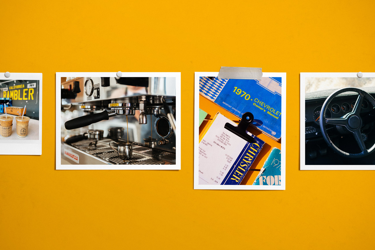 Rambler Coffee checks presented in old car brochures