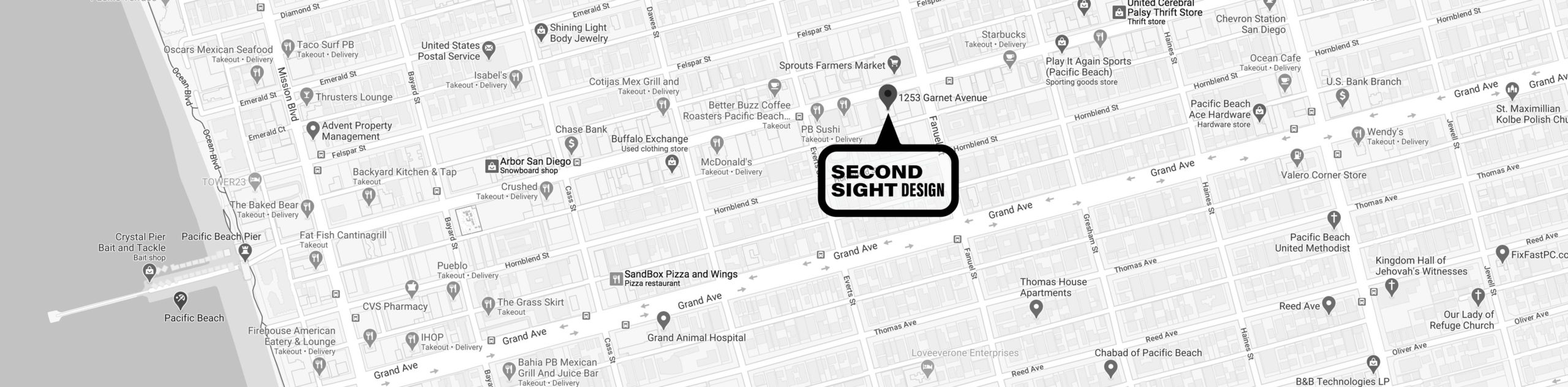 Black and white map of San Diego with a pin dropped on the location of Second Sight Design as well as surrounding businesses